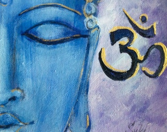 "Buddha painting original painting 6 x 6"""