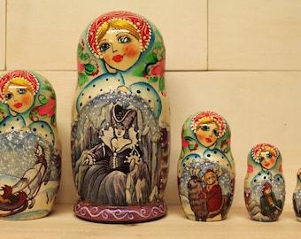 SALE  SALE Babushka Christmas Nesting Dolls  Matryoshka dolls Fairytales set of 5