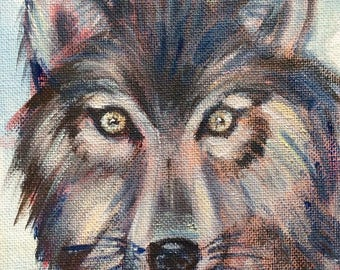 Wolf  Painting Totem animal woodland animals oil painting original art 7 x 5""