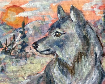 Wolf  Painting Totem animal woodland animals oil painting original art 5 x7""