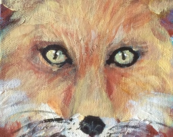 "Fox 3 Painting woodland animals painting original art 7 x 5"""