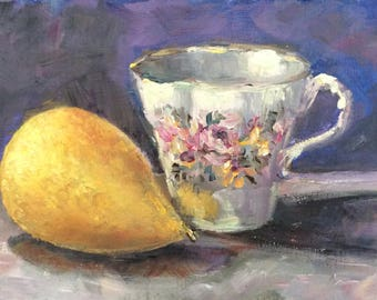 """English Tea cup and pear original oil painting  5 x 7"""""""