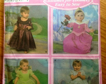 Princess Dress Up Easy to Sew Pattern Toddler Halloween Costume - Tinkerbell Cinderella Aurora- Size 1/2, 1, 2, 3, 4 Simplicity 4949 Pre-cut