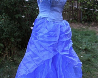 SALE Prom Gown Adult Fairy Costume Blue Faerie SILK Alternative Wedding Dress, Sweet Sixteen, Small Fits Sizes 8-10 Hand-Dyed One of a Kind