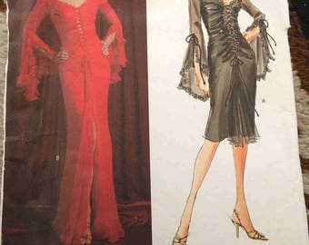 Evening Gown Pattern DIY Formal Dress Mitzvah Prom Sexy Vampira Morticia Costume OOP Vogue 2848 V2848 Long or Short Sz 18-20-22 UNCUT French