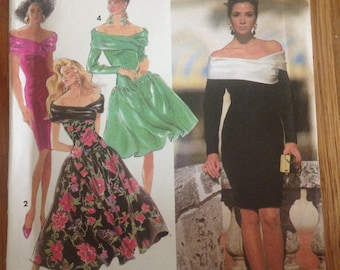 Semi Formal Retro Party Dress Bridesmaid Dress Off Shoulder Cocktail Dress Vintage Sewing Pattern 4 Dresses in 1 Size 12-18 Simplicity 7440