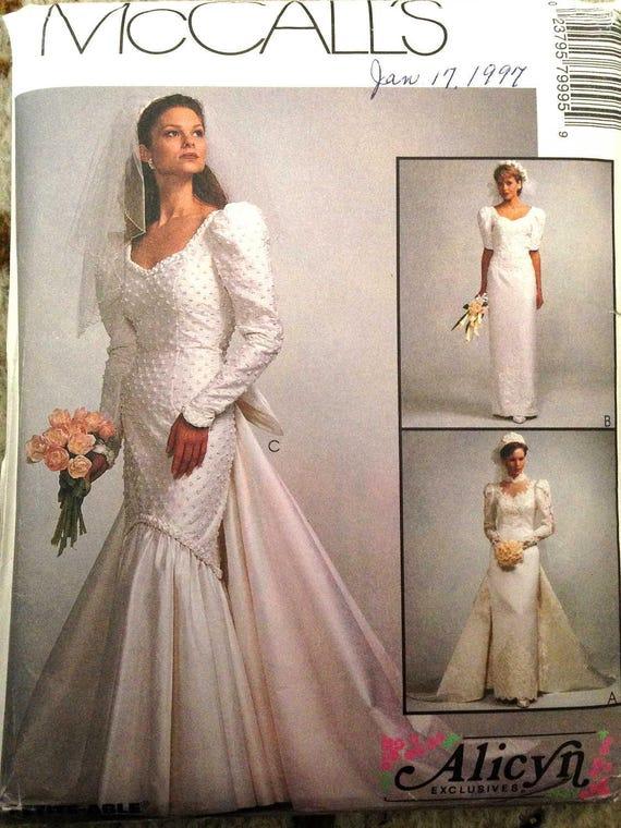Vintage 1995 Wedding Dress Sewing Pattern Size 12 Detachable Etsy