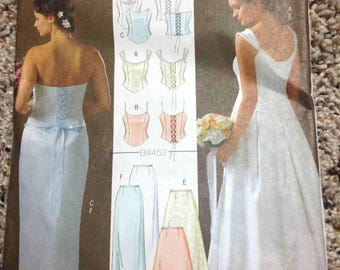 Simple Wedding Dress Sewing Pattern, Sz 16-18-20-22, DIY Bridesmaid Prom Dress Butterick B4452 Butterick 4452 Bustier Lace-Up PRE-CUT French