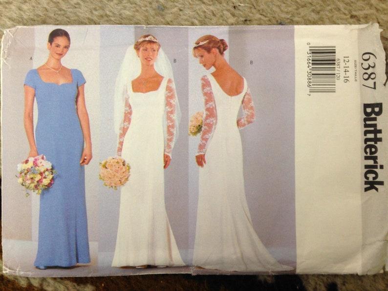 25c4d94315 Vintage Wedding Dress Pattern 1999 Retro Bridal Gown DIY Prom PreCut  Sweetheart Neckline Bridesmaid Lace Sleeve Butterick 6387 Size 12-14-16