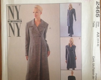 Long Coatdress Pattern Matching Pants Fitted Flared Tailored Pantsuit 2 Lengths New Grad Gift OOP Uncut Petite-Able Sz 4 6 8 McCalls 2465