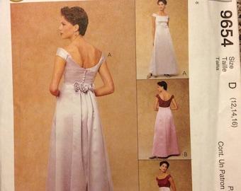Bridesmaid Sewing Pattern Wedding Attendant Formal Evening Elegance Back Flounce Sz D 12, 14, 16, Rare OOP McCalls 9654 UNCUT Craft Supplies