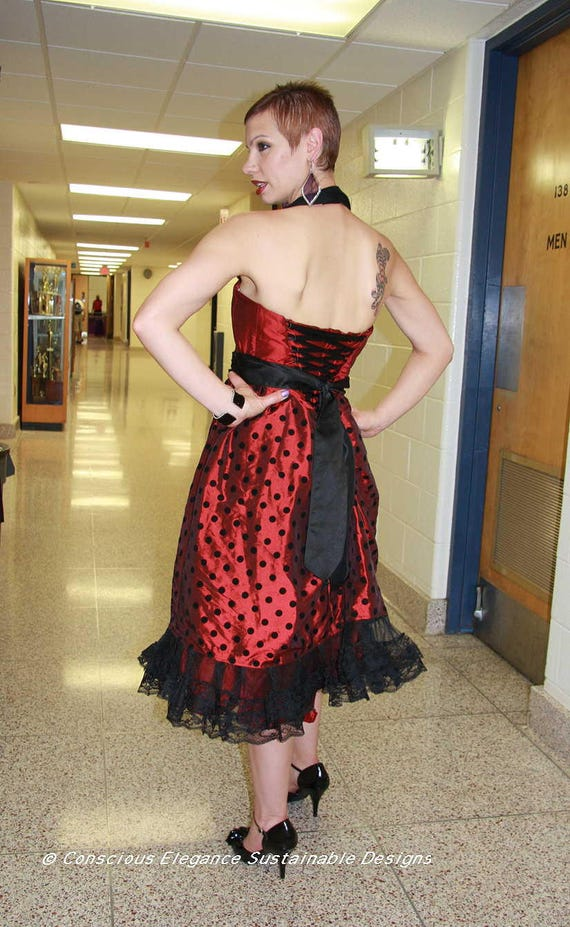 Vintage Style Holiday Party Dress Red Black Polka Dot Special  bf09420e474e