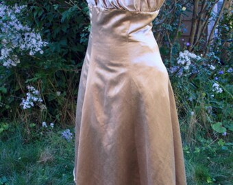 Sweet Party Dress Cappuccino Brown Hemp Silk Satin Charmeuse Handmade Demo Dress Beige Lt Brown Originally for Fashion Show One of a Kind