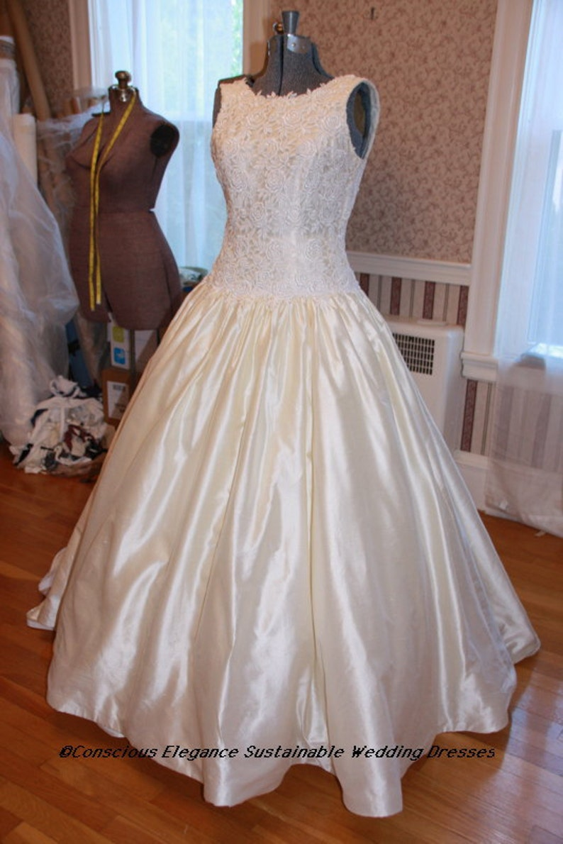 bd60950dca Vintage Wedding Dress Yellow Silk Prom Gown -Size 12 Dupioni 100% Silk Lace  Roses Garden Lemon Ice Sorbet Sweet 16 FREE SHIPPING Made in USA