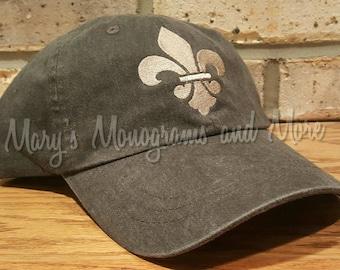Fleur-de-Lis Hat - Embroidered Fleur de Lis Baseball Hat - Fleurdelis  Custom cap - Personalized Fleur-de-lis Hat bbde12d2eb42
