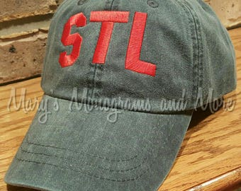 152d6420643 STL Airport Code Hat - St. Louis Airport Code Hat - Saint Louis Hat - STL  Navy Blue Ball Cap - Personalized Airport Code Hat