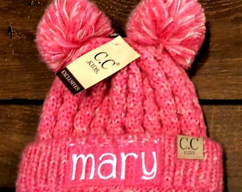 328cdff48aa Embroidered CC Kid s Multi Tone Double Pom Beanies - Personalized  Children s Winter Pom Pom Hat