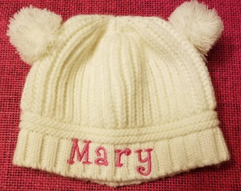 8c6ebdc762ce Embroidery Personalized Double Pom Pom Infant Toddler Knit Hat