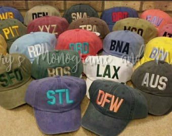 b87b31154d0 YOUTH Any City Airport Code Hat - You Pick The City Aviator Cap -  Children s