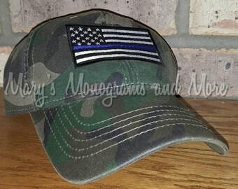 Thin Blue Line American Flag Baseball Hat 16defe63254b