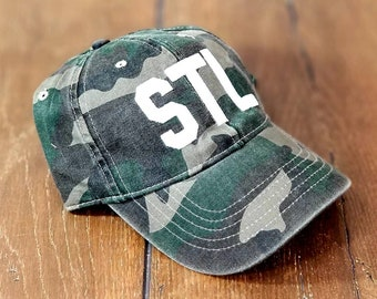 a4069da5713 STL Airport Code Camo Hat - Embroidered Any City Camouflage Baseball Cap -  Camo Saint Louis Airport Code Hat