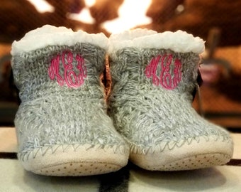 990970742 Monogrammed Slippers - Embroidered Slipper Boots, Personalized Sherpa Lined  Slippers, Cable Knit, Slip-On, Knit Booties, Soft House Shoes