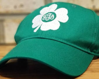 a7e0afd0fab Monogrammed St. Patrick s Day Hat - Embroidered 4 Leaf Clover St. Patty s  Day Baseball or Trucker Hat