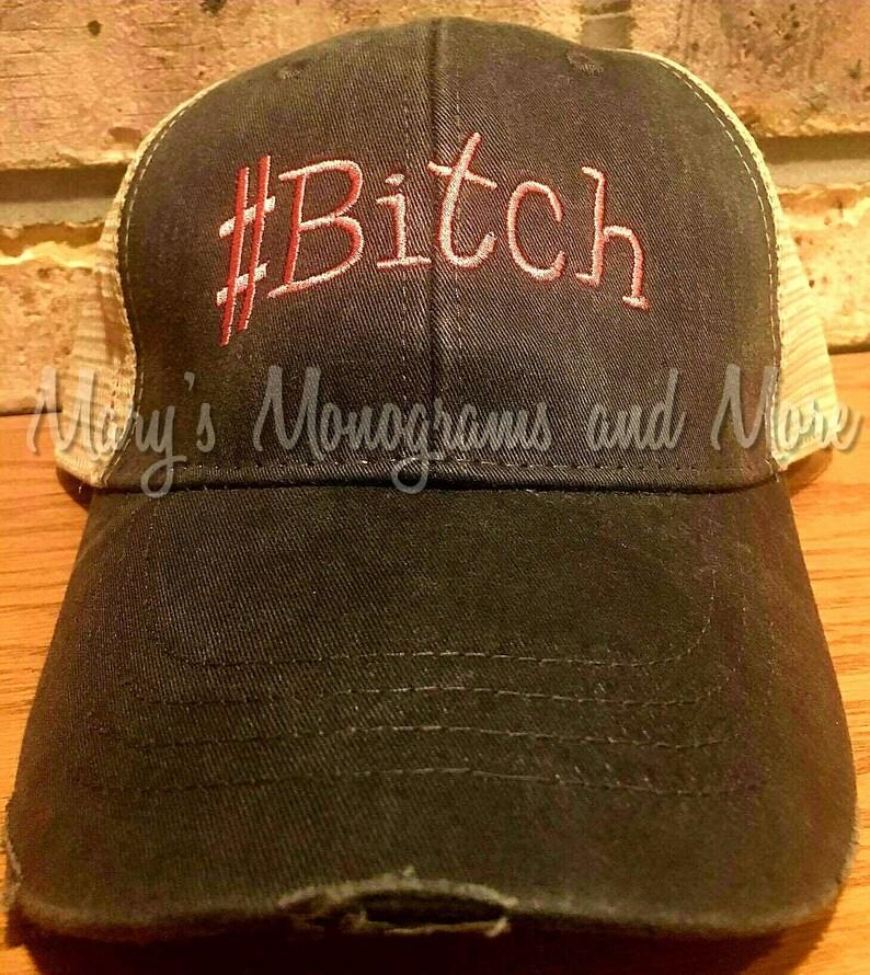 online retailer a70cf 093ec Bitch Hat Bitch Distressed Trucker Hat Bitch Ollie Cap   Etsy
