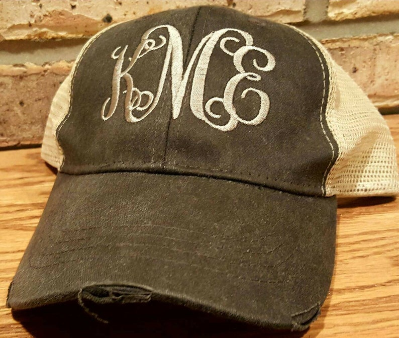 promo code 76989 f46fa Embroidery Monogrammed Trucker Hat Personalized Mesh Back   Etsy