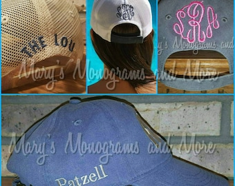 Add embroidery personalization to the back or side of your hat, add monogram, name, phrase, date, or symbol to your baseball or trucker hat