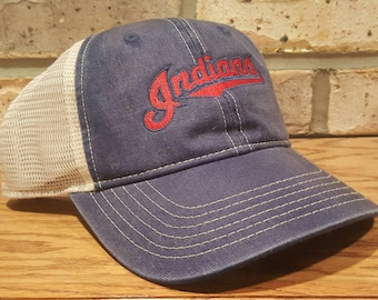 Cleveland Indians Trucker Hat - Embroidered Cleveland Indians Hat - Cleveland Ohio Baseball, adult and youth Indians hats