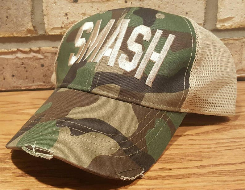898d2e57f3aad SMASH Hat - Distressed Trucker Smash Ollie Cap - SMASH Trucker Cap  Collection, Smashville, SMASH Baseball Hat