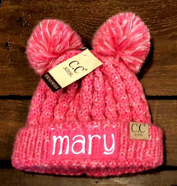 94598401d45 Embroidered CC Kid s Multi Tone Double Pom Beanies