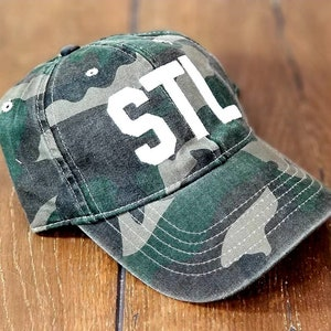 BALTIMORE Camper Hat  BWI Airport Code  Maryland City-Themed Merch  Green Camo Hat with Black /& Gold Embroidery