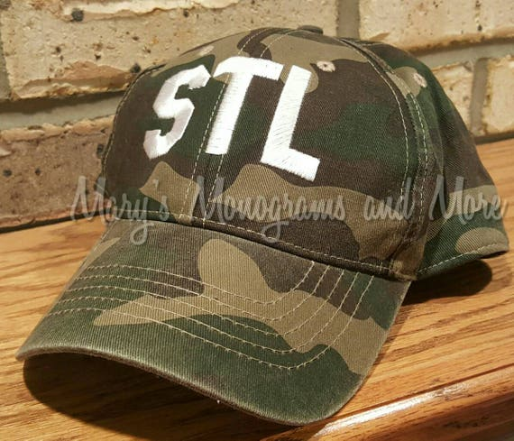 Embroidered STL Airport Code Camo Hat Camouflage STL  f116b49234f