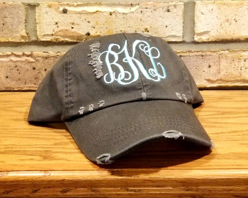 79c450a69b369 Monogrammed Distressed Baseball Hats Embroidered