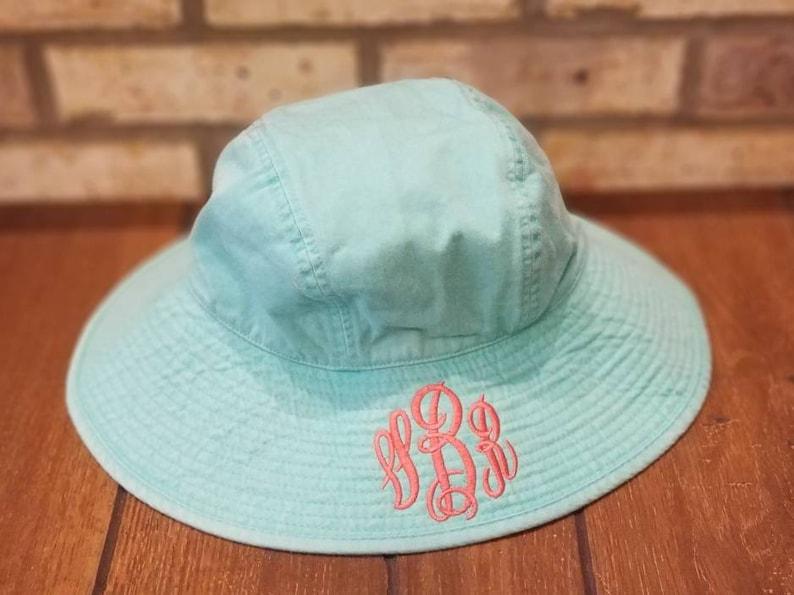 a6c188fbc20 Monogrammed Sun Hat Embroidered Ladies  Floppy Hat