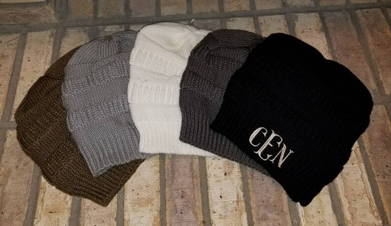 d8323097043 Monogrammed Cable Knit Beanie Embroidered Slouch Hat