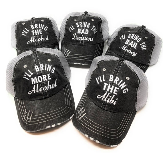 Girls Trip Weekend I/'ll Bring the Booze Glitter Ladies Trucker Hat