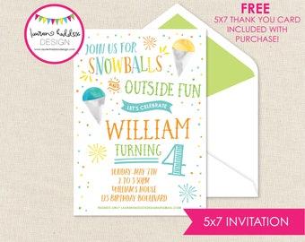 Snoball Birthday Birthday Party Invitation with FREE Return Address Printed on Envelopes Slurpee Party Free Shipping Snowball Invitation