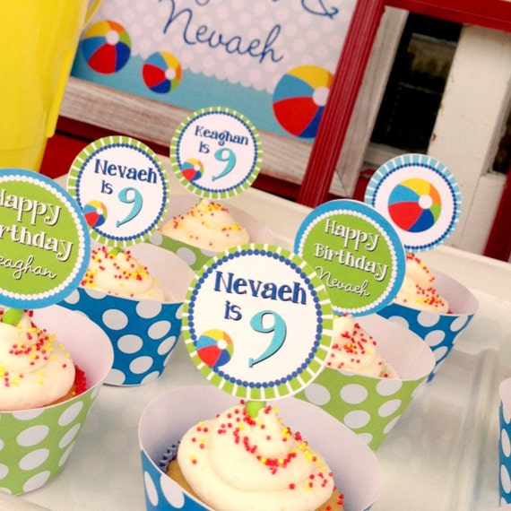 DIY Printable Beach Ball CUPCAKE TOPPERS