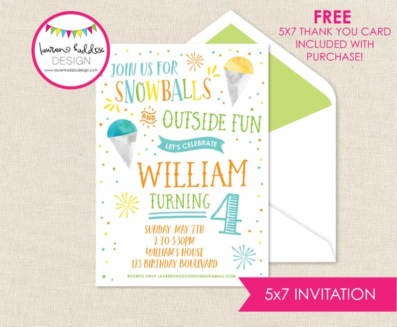 Snow Cone Birthday Snow Cone Birthday Invitation Snow Ball