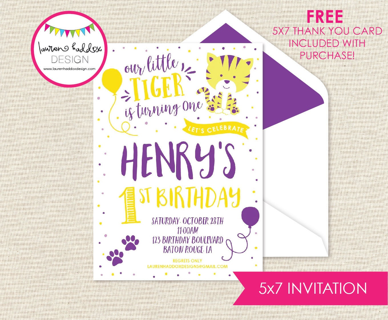 Little Tiger Birthday Invitation Tiger Birthday Tiger