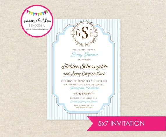 Diy monogram baby shower invitation only by lauren haddox design il570xn filmwisefo