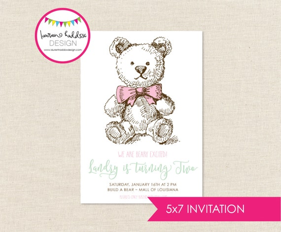 Teddy Bear Birthday Invitation Build A Printables Decorations Lauren Haddox Designs