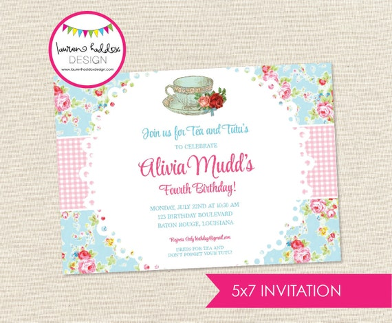 Tea Party Birthday Invitation Teacups And Tutus