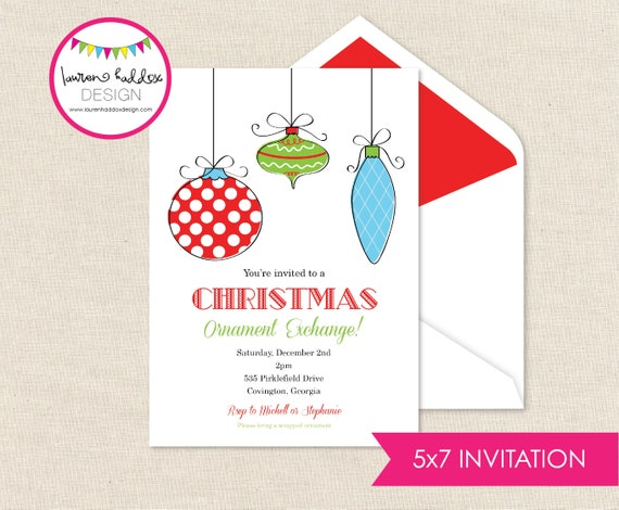 ornament exchange invitation holiday party invitation etsy