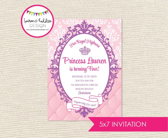 Princess Birthday Invitation Princess Birthday Princess