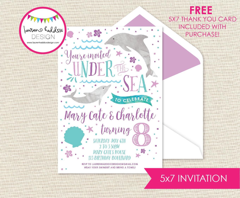 Dolphin Birthday Invitation Pool Party Invitation Under the | Etsy