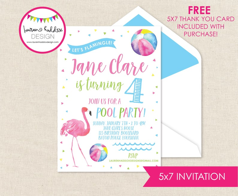 Flamingo Birthday Pool Party Invitation Invitations Decorations Lauren Haddox Designs
